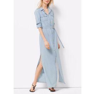 Michael Kors Belted Chambray Maxi Shirt Dress